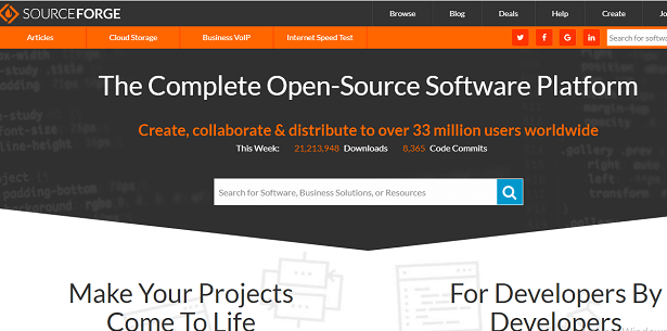 Sourseforge paid and free github alternatives