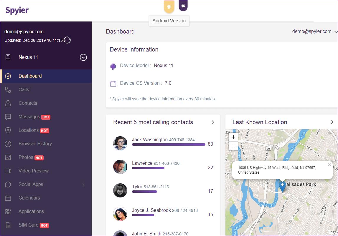 spyier dashboard